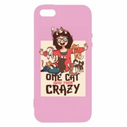 Чехол для iPhone5/5S/SE One cat away from crazy
