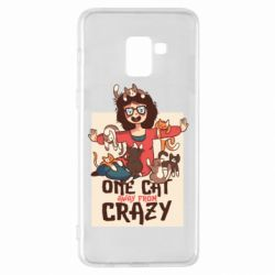 Чехол для Samsung A8+ 2018 One cat away from crazy