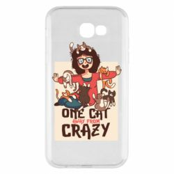 Чехол для Samsung A7 2017 One cat away from crazy