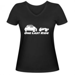 Женская футболка с V-образным вырезом One last ride