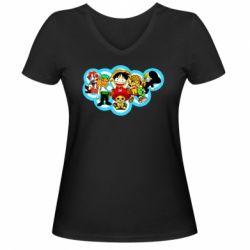 Жіноча футболка з V-подібним вирізом One piece anime heroes