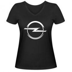 Женская футболка с V-образным вырезом Opel Log - FatLine