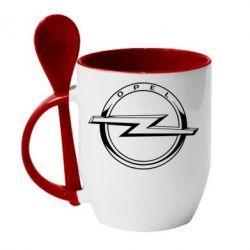 Кружка з керамічною ложкою Opel logo