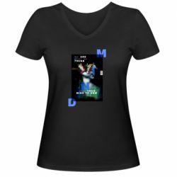 Женская футболка с V-образным вырезом Open your mind to new ideas