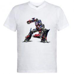 Мужская футболка  с V-образным вырезом Оптимус Прайм