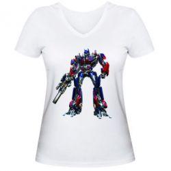 Женская футболка с V-образным вырезом Optimus