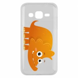 Чехол для Samsung J2 2015 Orange dinosaur