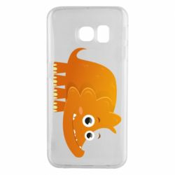Чехол для Samsung S6 EDGE Orange dinosaur