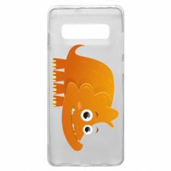 Чехол для Samsung S10+ Orange dinosaur