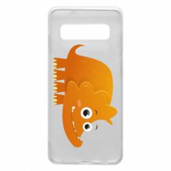 Чехол для Samsung S10 Orange dinosaur