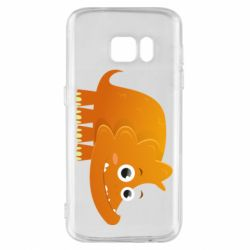 Чехол для Samsung S7 Orange dinosaur