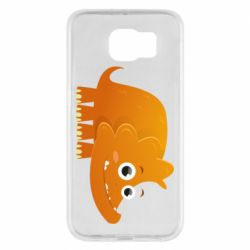 Чехол для Samsung S6 Orange dinosaur