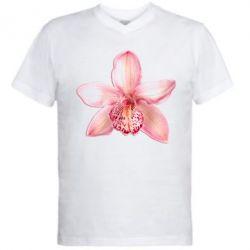 Мужская футболка  с V-образным вырезом Орхидея