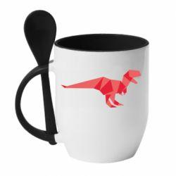 Кружка с керамической ложкой Origami dinosaur