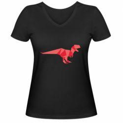 Женская футболка с V-образным вырезом Origami dinosaur
