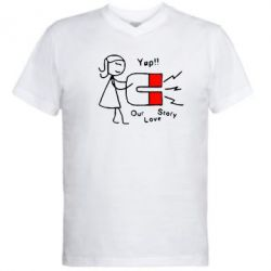 Мужская футболка  с V-образным вырезом Our love story2 - FatLine