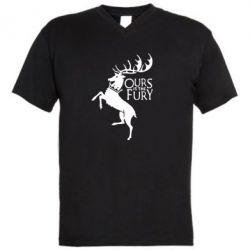 Мужская футболка  с V-образным вырезом Ours is the fury - FatLine