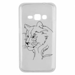 Чехол для Samsung J1 2016 Outline drawing of a lion