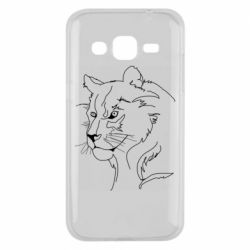 Чехол для Samsung J2 2015 Outline drawing of a lion