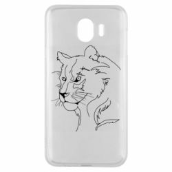 Чехол для Samsung J4 Outline drawing of a lion