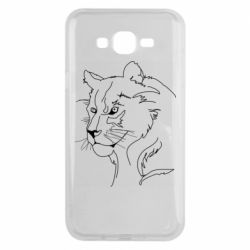 Чехол для Samsung J7 2015 Outline drawing of a lion