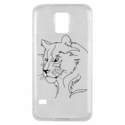 Чехол для Samsung S5 Outline drawing of a lion