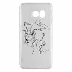 Чехол для Samsung S6 EDGE Outline drawing of a lion
