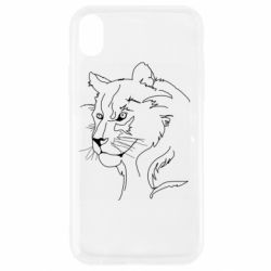 Чехол для iPhone XR Outline drawing of a lion