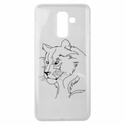 Чехол для Samsung J8 2018 Outline drawing of a lion