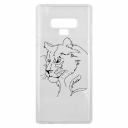 Чехол для Samsung Note 9 Outline drawing of a lion