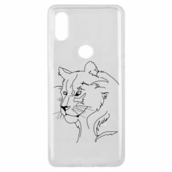 Чехол для Xiaomi Mi Mix 3 Outline drawing of a lion