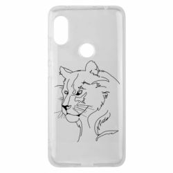 Чехол для Xiaomi Redmi Note 6 Pro Outline drawing of a lion