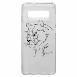 Чехол для Samsung S10+ Outline drawing of a lion