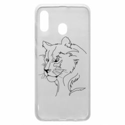 Чехол для Samsung A30 Outline drawing of a lion