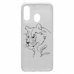 Чехол для Samsung A40 Outline drawing of a lion