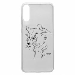 Чехол для Samsung A70 Outline drawing of a lion