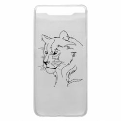 Чехол для Samsung A80 Outline drawing of a lion