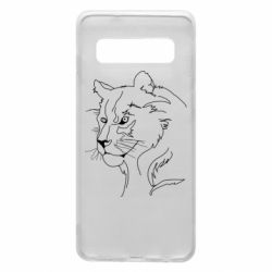 Чехол для Samsung S10 Outline drawing of a lion