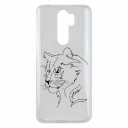 Чехол для Xiaomi Redmi Note 8 Pro Outline drawing of a lion