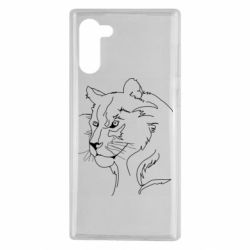 Чехол для Samsung Note 10 Outline drawing of a lion