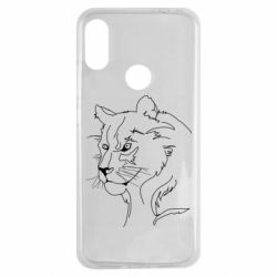 Чехол для Xiaomi Redmi Note 7 Outline drawing of a lion