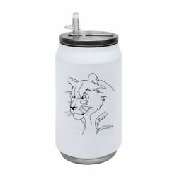 Термобанка 350ml Outline drawing of a lion