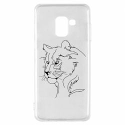 Чехол для Samsung A8 2018 Outline drawing of a lion