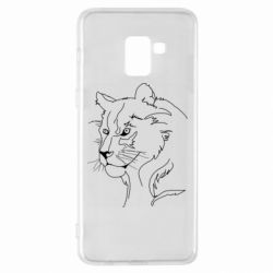 Чехол для Samsung A8+ 2018 Outline drawing of a lion