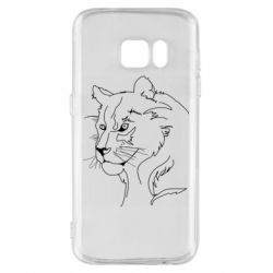 Чехол для Samsung S7 Outline drawing of a lion