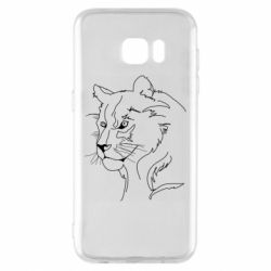 Чехол для Samsung S7 EDGE Outline drawing of a lion