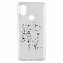 Чехол для Xiaomi Mi A2 Outline drawing of a lion