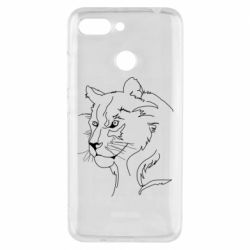 Чехол для Xiaomi Redmi 6 Outline drawing of a lion