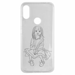 Чехол для Xiaomi Redmi Note 7 Outline drawing of a little girl