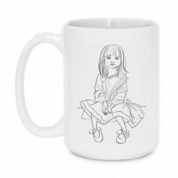 Кружка 420ml Outline drawing of a little girl